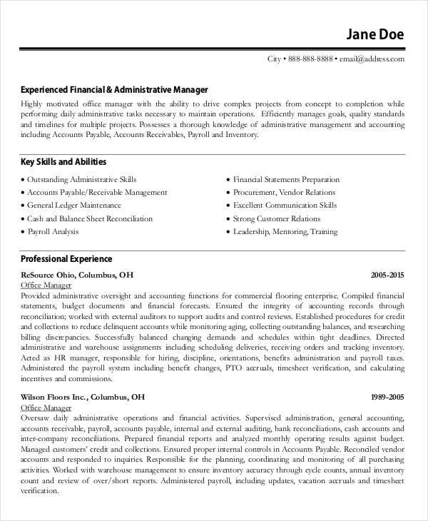 office manager accountant resume