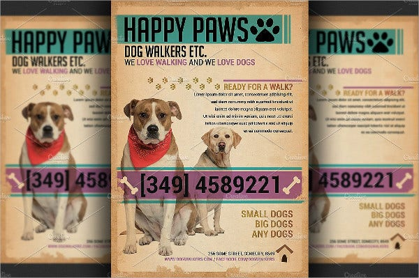 47 printable flyer templates psd ai free premium for Dog walking flyer template free