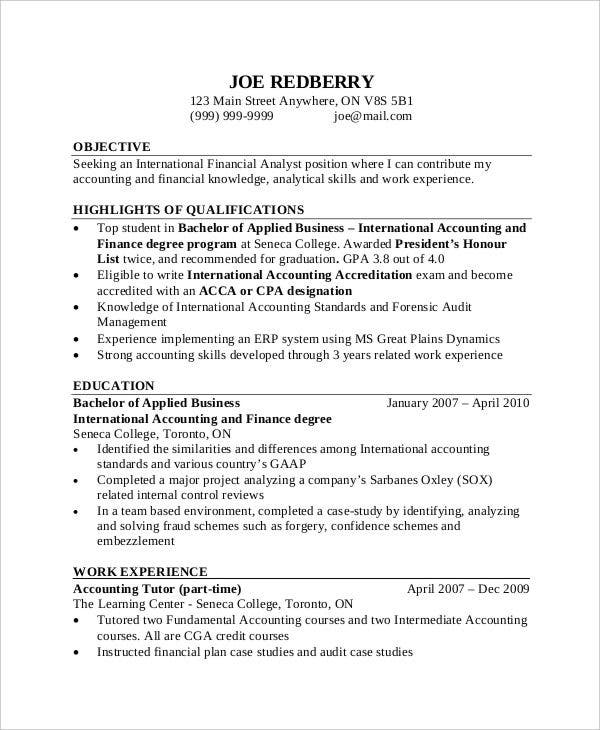 Free Accountant Resume Templates  Pdf Doc  Free  Premium