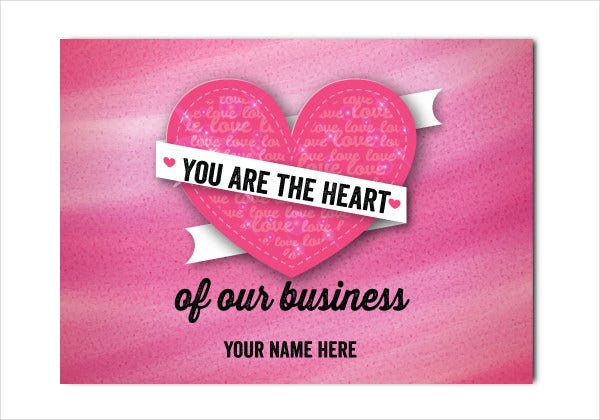 valentine business greeting card