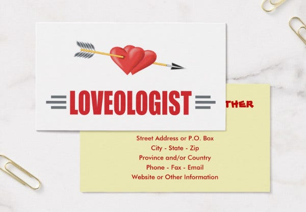 -Valentine Business Post Card