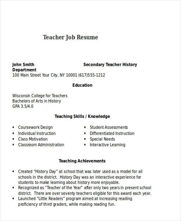 Teacher Job Resume Example  Teaching Skills Resume