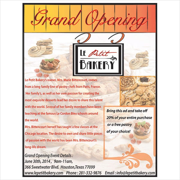Bakery Grand Opening Flyer