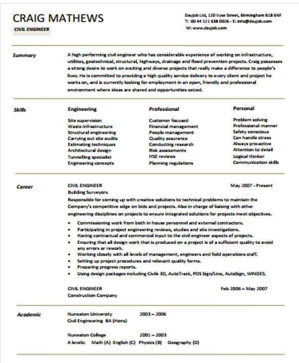 civil engineering resume in pdf2