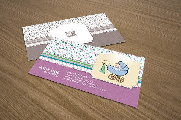 Printable business cards free premium templates teenage babysitting business card reheart Gallery