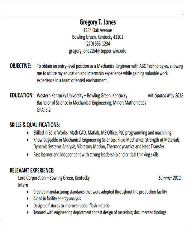 entry level mechanical engineering resume samples sample mechanical - Entry Level Mechanical Engineering Resume