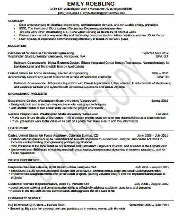 electrical and electronic engineering resume