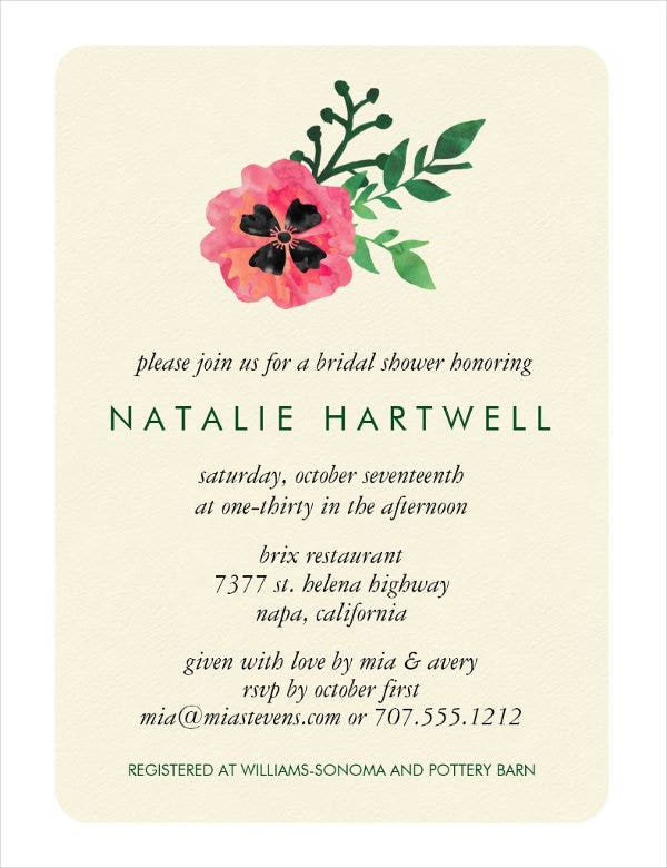 traditional bridal shower invitation card