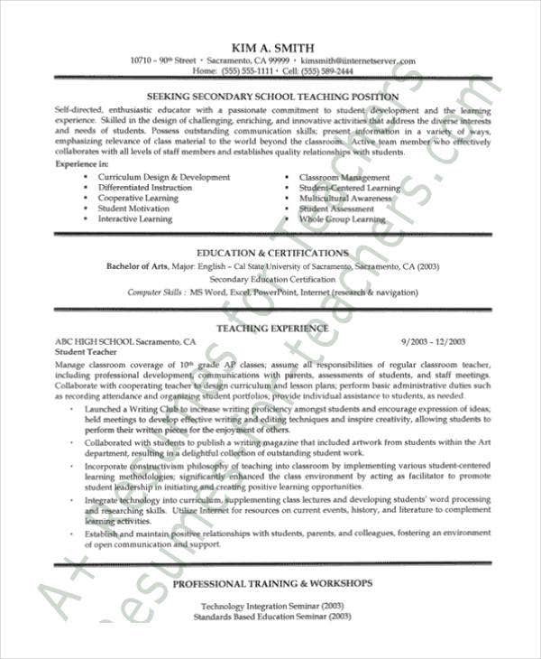 School Teacher Resume Pdf