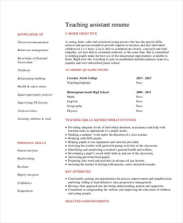 teacher resume sample free word pdf documents download - Teaching Assistant Resume Description