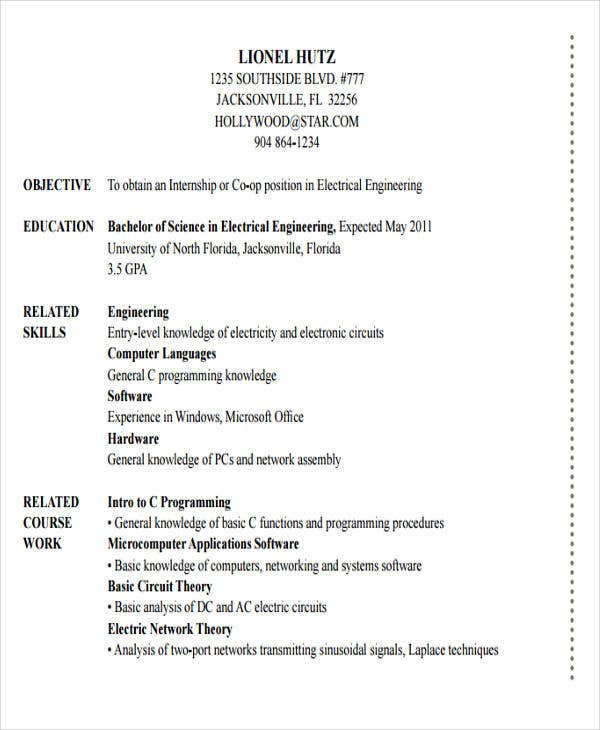 electrical engineering internship resume