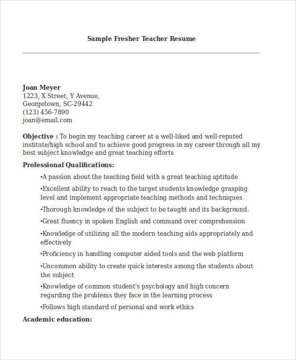 Teacher Resume Format  Professional Teaching Resume