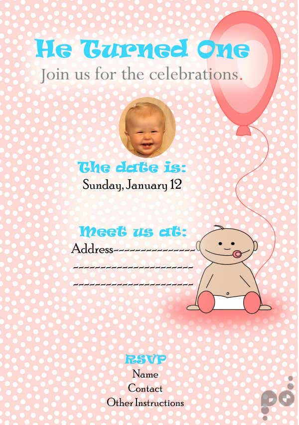 Photo Birthday Invitation Card