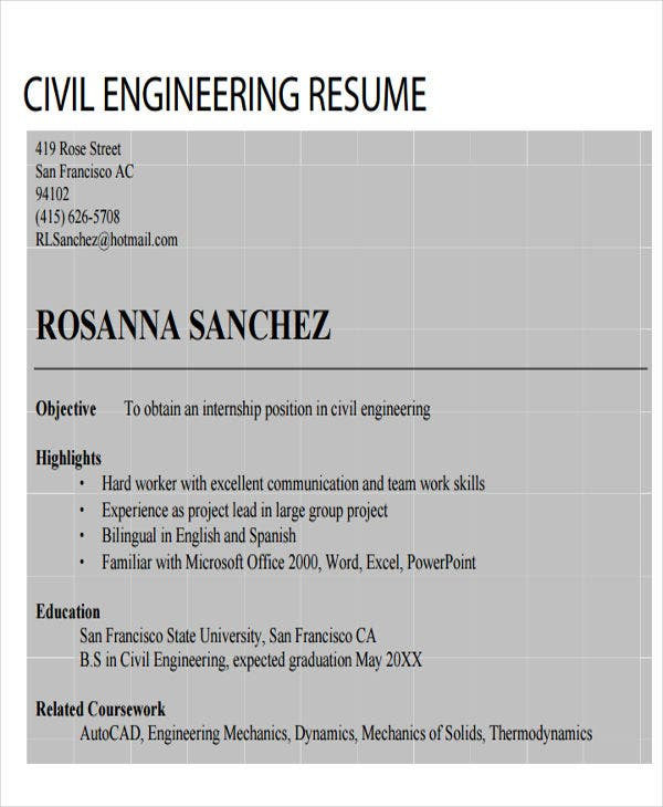 civil engineering resume pdf