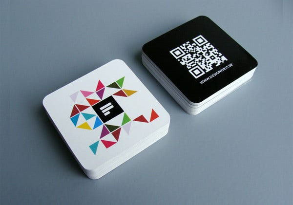 rounded square business card