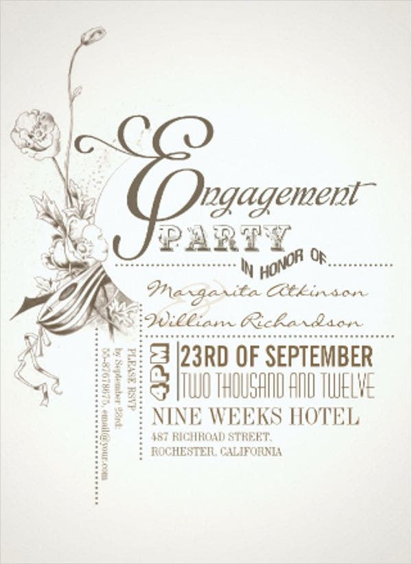 Engagement Card Template Engagement Invitation Card Paperinvite