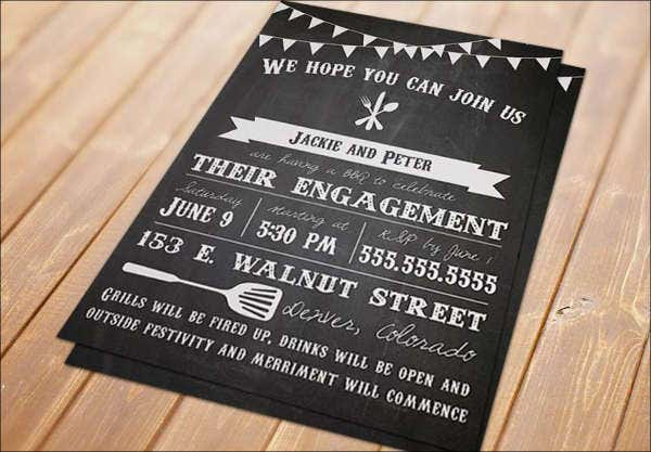free printable chalkboard engagement invitation