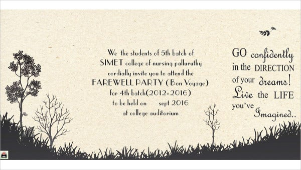 college farewell invitation card