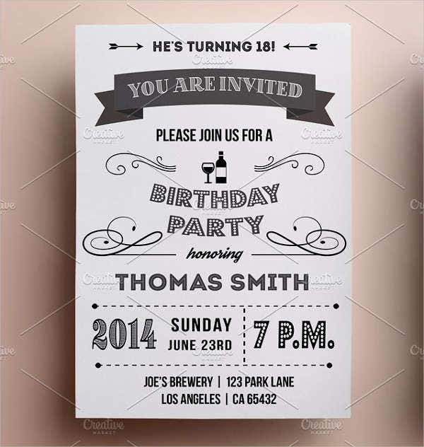-Vintage Birthday Invitation Card