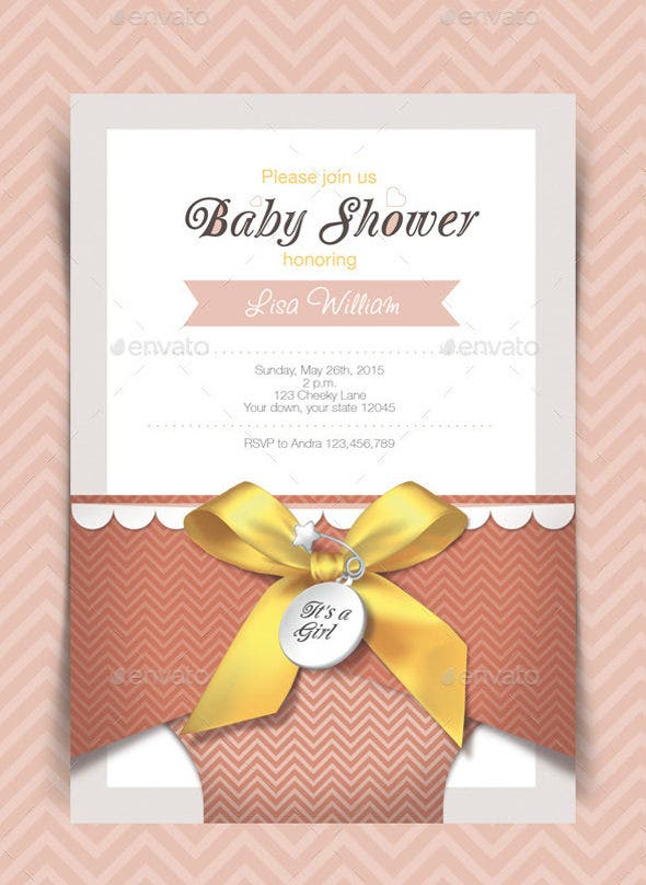 diaper baby shower invitation card