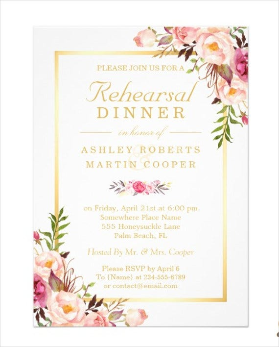 wedding rehearsal dinner invitation card