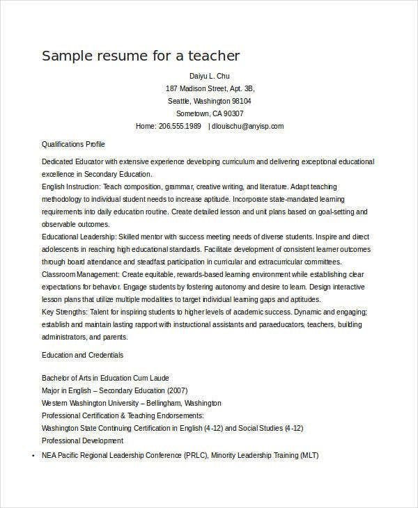Teacher Resume Sample - 28+ Free Word, Pdf Documents Download