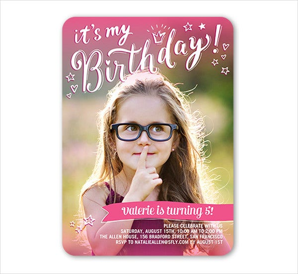 girl birthday invitation card