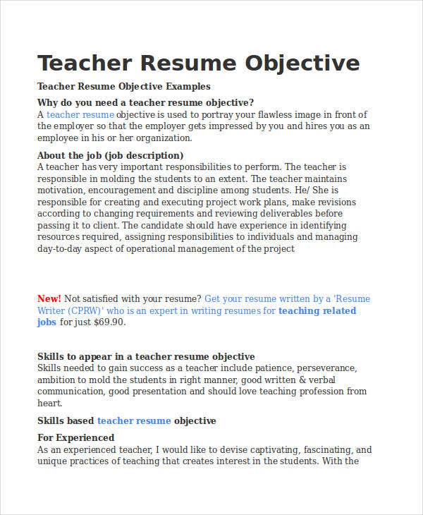 Perfect Experienced Teacher Resume Objective