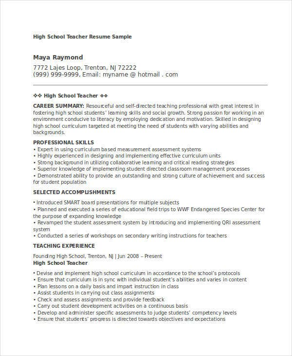 Awesome Experienced High School Teacher  Experienced Teacher Resume Samples