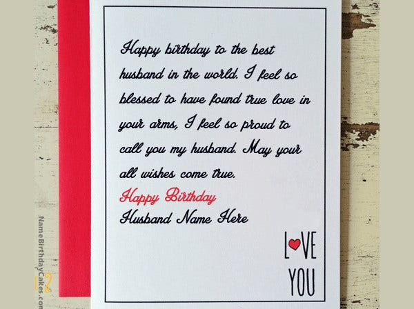 Love Birthday Card For Husband