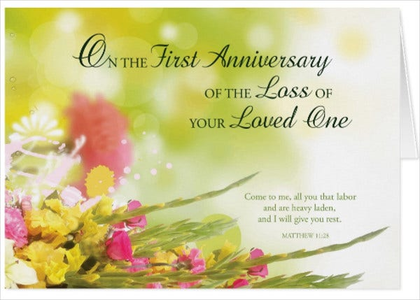 First Death Anniversary Invitation Card