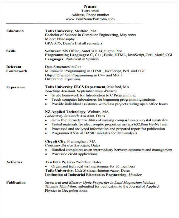 engineering student resumes - Boat.jeremyeaton.co