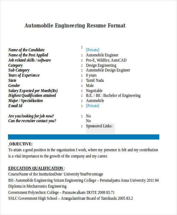 55 Engineering Resume Samples Pdf Doc Free Amp Premium