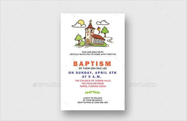 church invitation card in psd