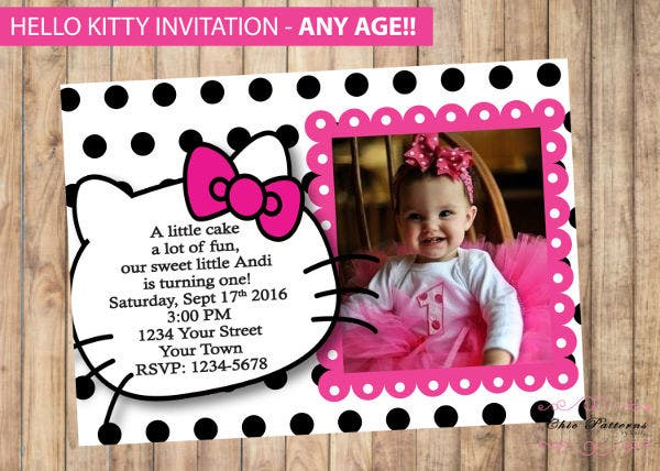 -Hello Kitty Birthday Invitation Card