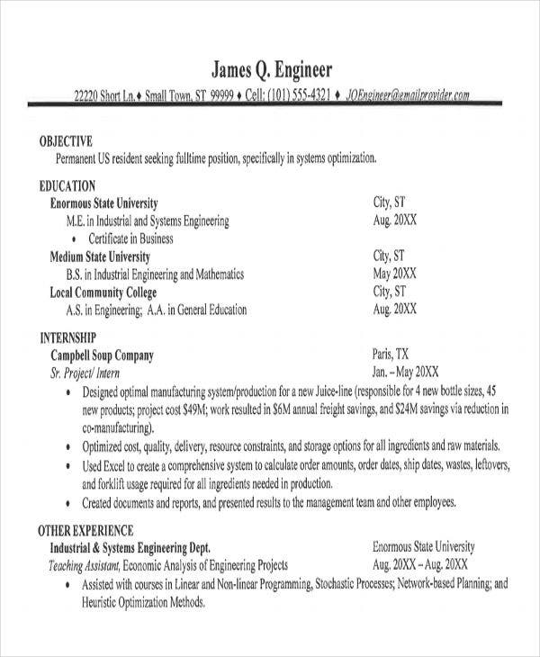 graduate engineering resume example