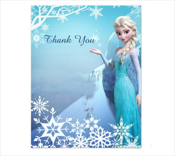 frozen photo thank you card