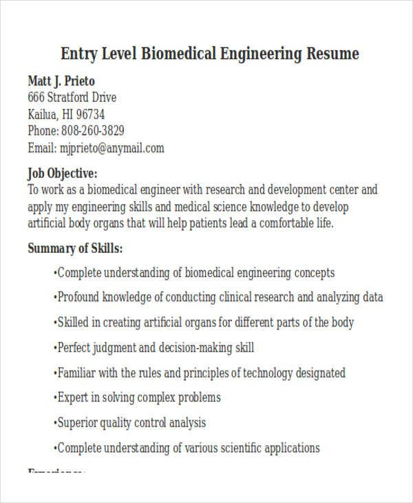 entry level biomedical engineering resume