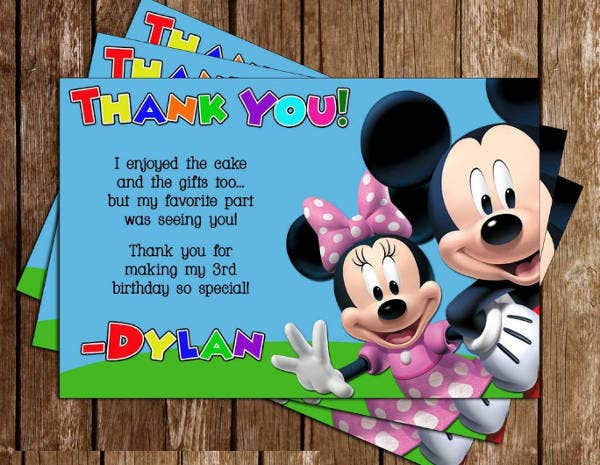 -Mickey Mouse Birthday Thankyou Card