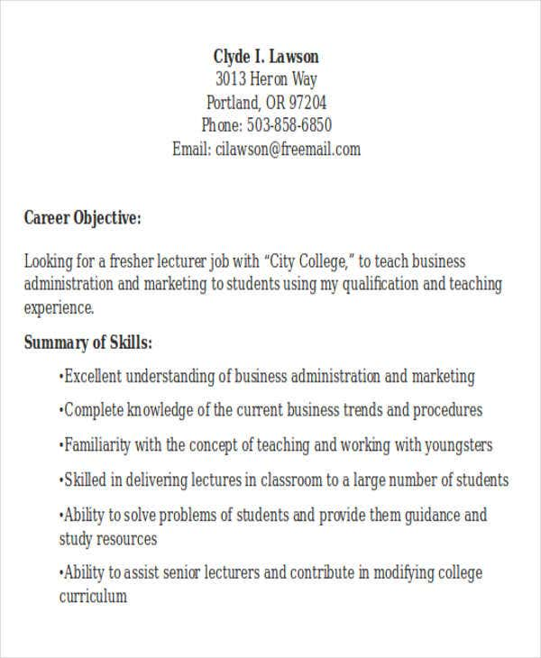 fresher engineering lecturer resume