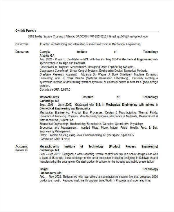 Engineering Resume Template   Free Word Documents Download