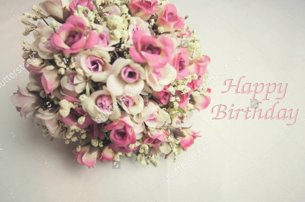-Vintage Flowers Birthday Card