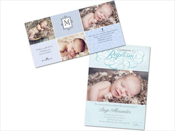 Baptism Photo Invitation Card