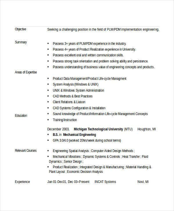 Engineering Resume Template 36 Free Word Documents Download – Mechanical Engineering Entry Level
