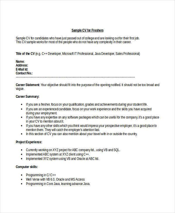 resume for freshers engineering students