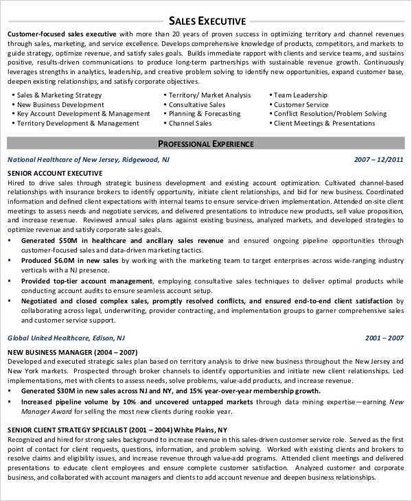 free resume for sales executive