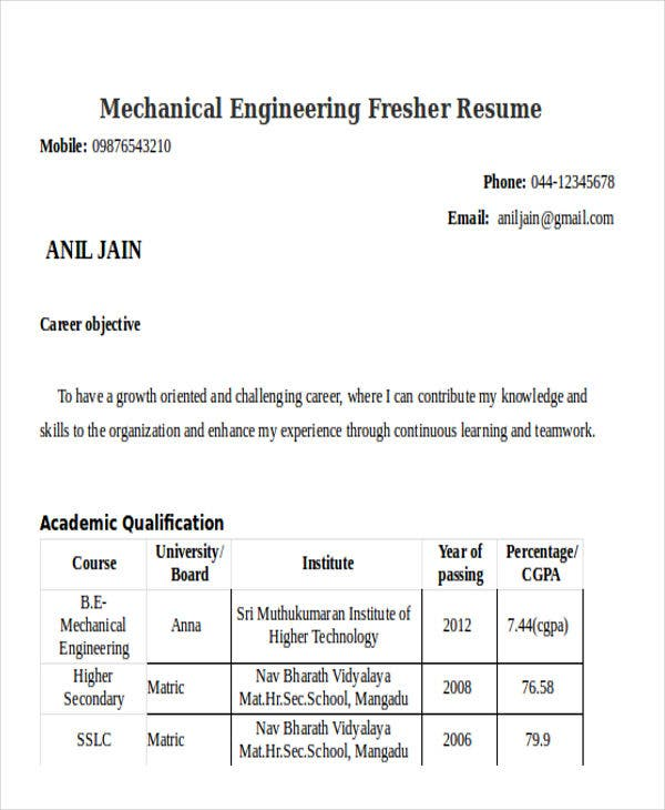 mechanical engineering fresher resume3