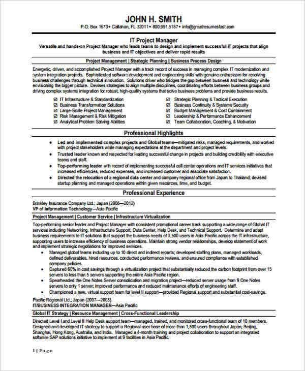 it project manager resume sample1