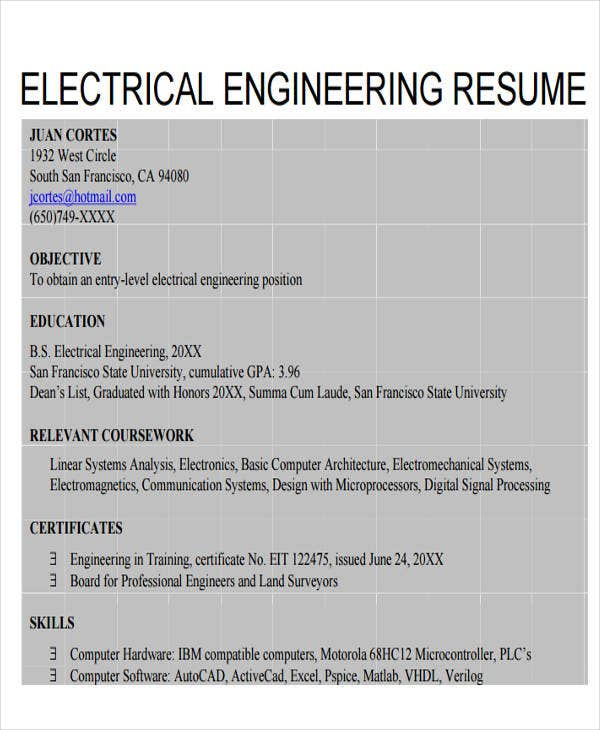 electrical engineering resume example1