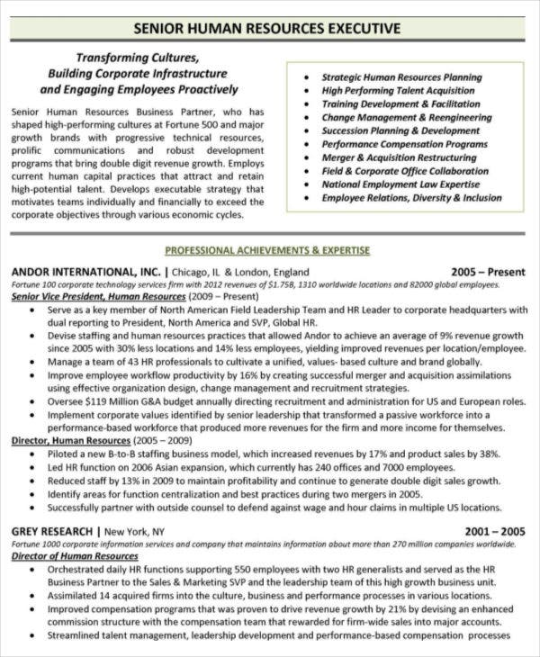 free senior hr resume fresher sample doc executive format manager